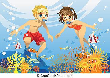 A vector illustration of two kids swimming and diving underwater in the ocean