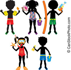 Vector Illustration of 5 different summer kids dressed for beach or pool.