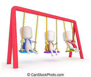 Kids Swing - 3D Illustration of Kids Playing with Swings
