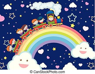 Kids Taking a Train over the Rainbow