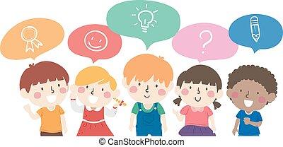 Kids Talk Each Other Illustration