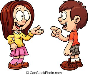 Kids talking - Cartoon kids talking. Vector clip art ...