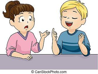 Kids Talking Debate Illustration