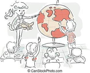 Kids Teacher Geography Study Illustration