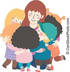 Kids Teacher Group Hug Illustration