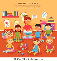 Kids Teacher Poster - Young kindergarten teacher reading to...