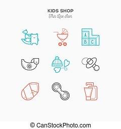 Kids thin line color icons set