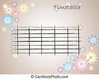 Kids color timetable for school with flower silhouettes