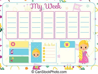 Kids timetable with cute princess. Weekly planner for children girls. School schedule design template