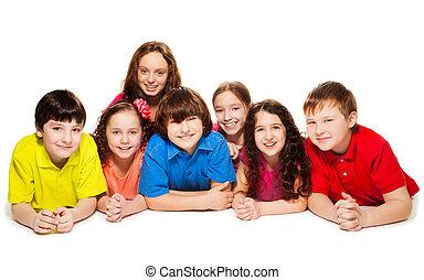 Kids together on the floor