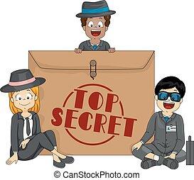 Kids Top Secret Envelope Illustration