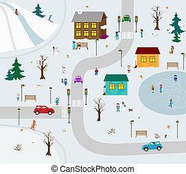 KIds town in winter. Vector illustration cartoon