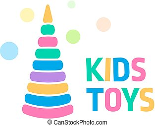 Kids toy abstract colorful cone of circles logo. Children s goods and toys store icon, vector illustration.