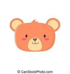 kids toy, cute teddy bear head icon