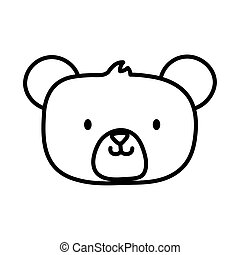 kids toy, cute teddy bear head icon thick line