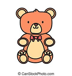 kids toy, cute teddy bear with bow tie icon