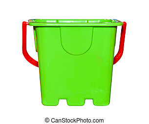 Kids toy green bucket isolated