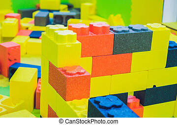 Kids toy house made of colorful blocks