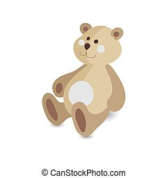 Kids toy teddy bear vector icon isolated on white