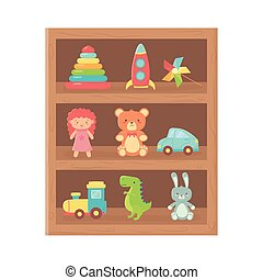 kids toy, wooden shelf furniture with toys