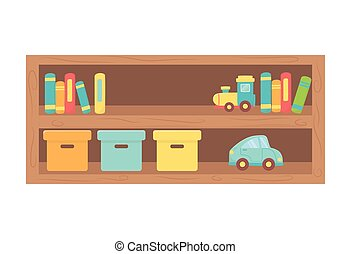 kids toy, wooden shelf with boxes books and toys
