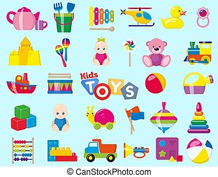 Kids toys. A set of children's toys for the youngest. Vector illustration