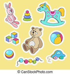 Kids toys cartoon colorful sticker set.