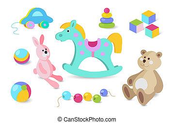Kids toys cartoon icons set.