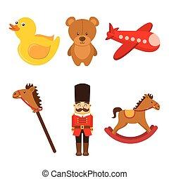 kids toys collection soldier teddy airplane duck rockinghorse