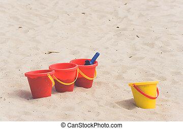 Kids toys in a sandbox
