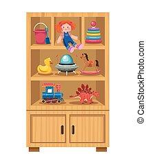 kids toys in shelf