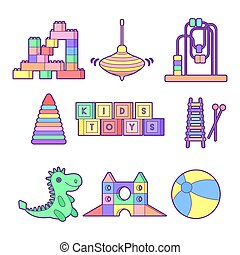 Kids toys set. Flat out line art style vector illustration....