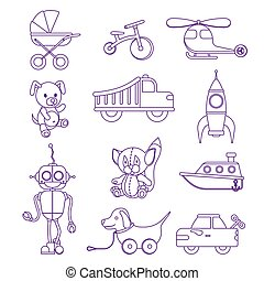 Kids toys set. Flat outline style vector illustration....