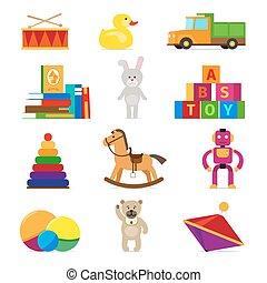 Kids toys set - Kids toys flat icons set on white...