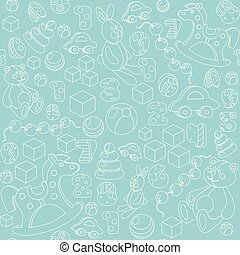 Kids toys silhouette seamless pattern