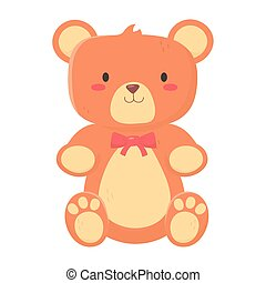 kids toys teddy bear with bow decoration isolated icon ...