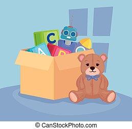 kids toys, teddy bear with toys in box carton