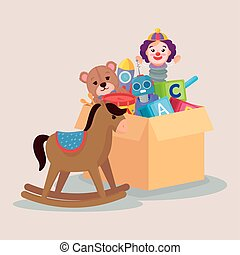 kids toys, wooden horse and toys in box carton