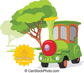 Kids train in amusement park. Vector illustration