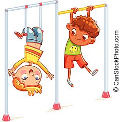 Little boy playing on the horizontal bar