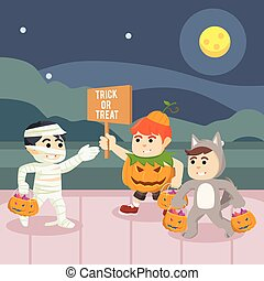 kids trick or treat in halloween