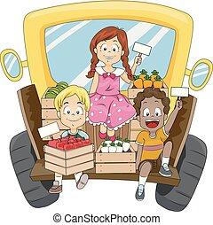 Kids Truck Sell Fruits Vegetables Illustration