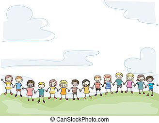 Kids United - Illustration of Smiling Stick Kids Holding...