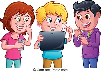 Kids Using Electronic Tablet