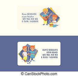 Kids vector business card cartoon girl boy characters children dancing or playing music on guitar and playing football backdrop illustration set business-card background