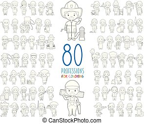 Kids Vector Characters Collection: Set of 80 different professions for coloring in cartoon style.