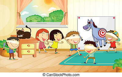 kids - illustration of kids playing games in a room
