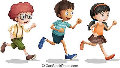 Kids - Illustration of kids running on a white background