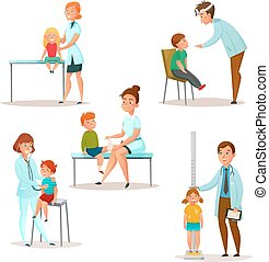 Kids Visit A Doctor Icon Set - Colored and isolated kids...
