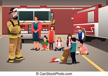 Kids Visiting a Fire Station - A vector illustration of...